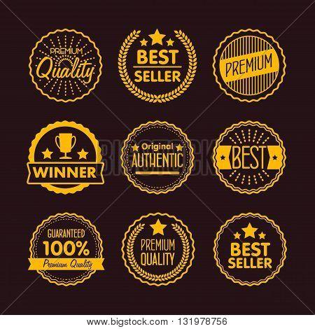 Vintage logo. Advertisement sign. Retro logo. Special offer vintage badges. Retail badges. Seller badges. Vintage badges template. Isolated vintage logo. Vintage sign. Seal quality. Premium quality.