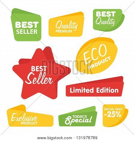 Sale sticker. Discount sticker. Vector sale sticker. Isolated sticker. Sale sticker on white background. Sale sticker, exclusive product sticker, special offer in origami style. Sale sticker set. Sale badge. Special sale badge for goods.