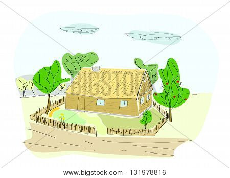 Rural house with tree - vector illustration.