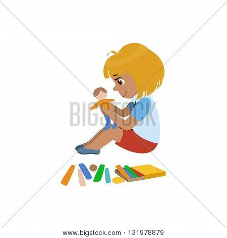 Girl Sculpting A Figure Colorful Simple Design Vector Drawing Isolated On White Background