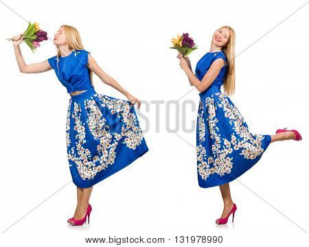 Composite photo of woman with tulips on white