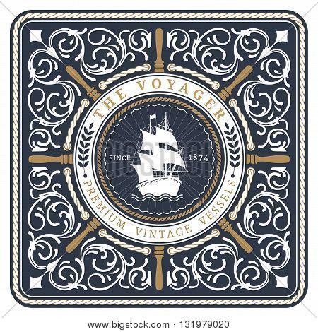 Nautical The Voyager Retro Card with Square Frame