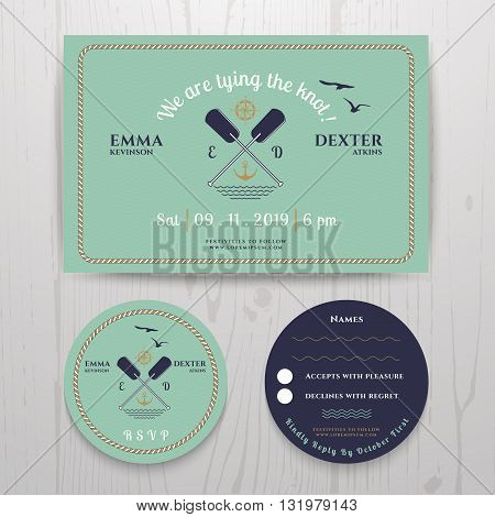 Nautical twin paddle wedding invitation and RSVP card template set on wood background