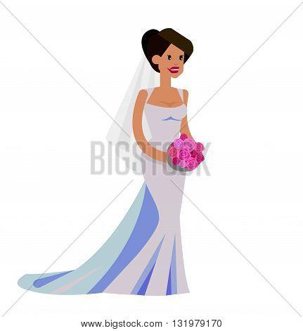 Happy cute wedding bride. Vector wedding detailed character bride, wedding  beautiful  smiling bride. Cool wedding bride  flat illustration. Vector bride wedding