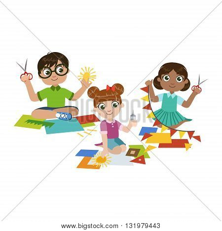 Kids Doing The Paper Craft Colorful Simple Design Vector Drawing Isolated On White Background