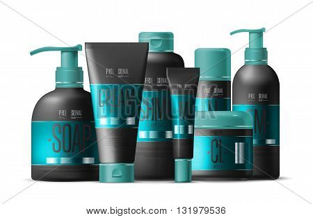 Shampoo design package. Cosmetic brand template. Vector shampoo packaging. Body care product. Realistic shampoo bottle mock up set. Isolated pack on white background. Shampoo isolated. Abstract shampoo brand.