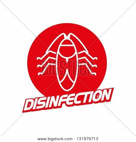 Vector disinfection firm logo isolated on white background. Flat red color insignia, symbol, label, icon.  Simple art logo for disinfection firm, card, illustration, icon.
