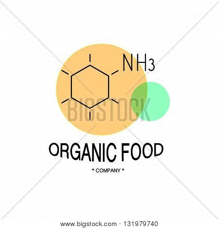 Vector organic food company logo isolated on white background. Flat simple insignia, logo, element, symbol, brand, label. Art design logo for organic food company, pharmacy, illustration, card