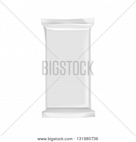 Blank packaging isolated on white background. Foil food snack bag for chocolate bar. Package template. Realistic 3d mockup. Plastic pack template. Ready for design. Vector illustration.