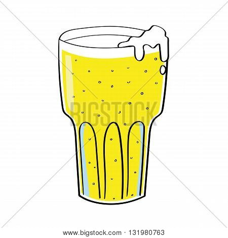 Vector illustration of a tall glass of lager beer or cider with bubbles and a foaming head on a white background