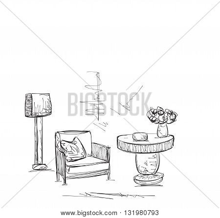 Drawing room sketch. Hand drawing comfortable interior