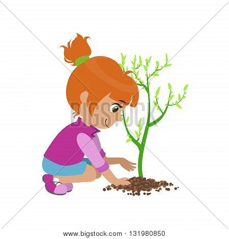 Girl Planting A Tree Colorful Simple Design Vector Drawing Isolated On White Background