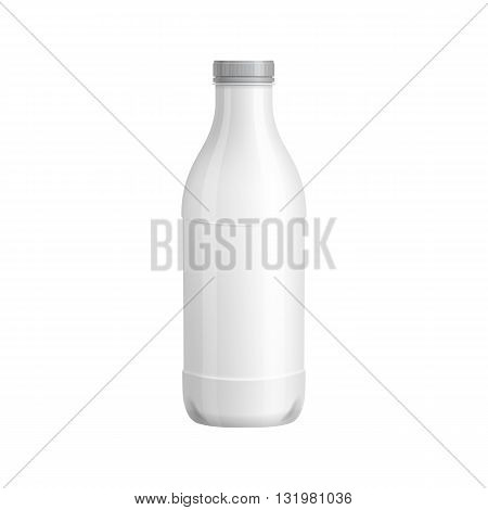 Plastic bottle template. For milk or yogurt product. Blank packaging isolated on white background. Package template. Realistic 3d pack mockup. Ready for design. Vector illustration.