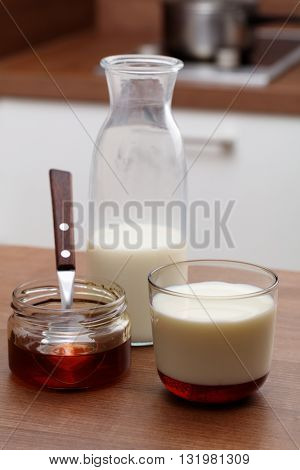 Honey and milk on a kitchen table