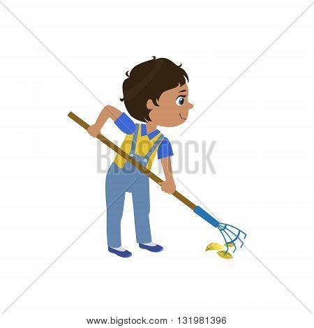 Boy Working With Rake Simple Design Illustration In Cute Fun Cartoon Style Isolated On White Background