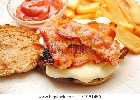 Bacon and Cheese Sandwich with Fries and Catsup