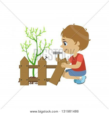 Boy Fixing The Fence Colorful Simple Design Vector Drawing Isolated On White Background