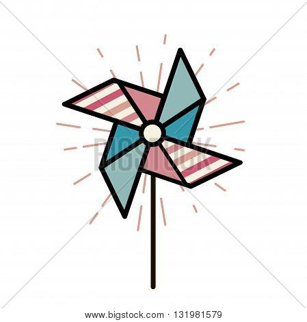 Vector Illustration of paper toy windmill for children