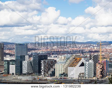 Oslo Norway - April 10 2016: The Barcode project a redevelopment of a former industrial estate in the Bjorvika area of Oslo Norway with a row of high-rise office buildings each with its own individual style.