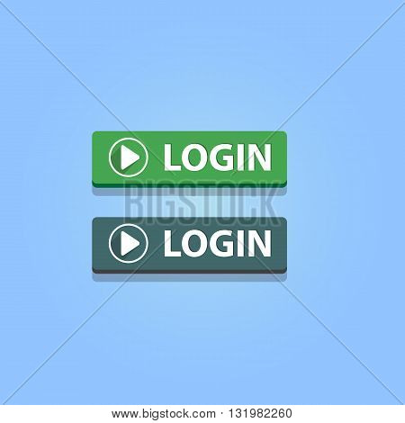 Login buttons on blue background. Vector illustration. Green and gray colors.