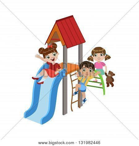 Kids Playing On The Playground Colorful Simple Design Vector Drawing Isolated On White Background