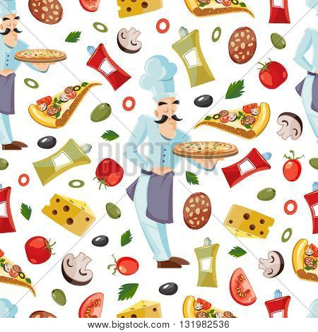 Vector Cartoon Cartoon seamless patter with ingridients of pizza. Tomato, cheese and mushrooms isolate on white background. Cook offers pizza on tray