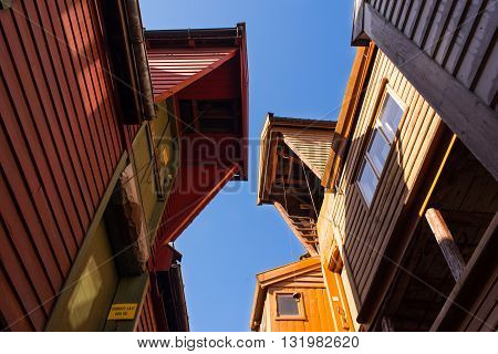 Bryggen, Norway is a series of Hanseatic commercial buildings lining the eastern side of the fjord coming into Bergen.