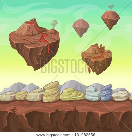 Cartoon landscape islands and stones seamless for Ui art interface, nature landscape Vector illustration