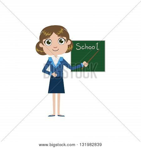 Girl Future Teacher Simple Design Illustration In Cute Fun Cartoon Style Isolated On White Background