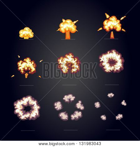 Cartoon explosion effect with smoke. Boom, explode flash, bomb comic frame for game animation