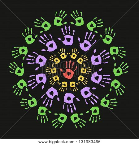 Frames with a hand prints. Round frames on a black background. Vector illustration
