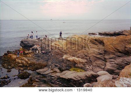 Fishermen At Beavertail Lighthouse