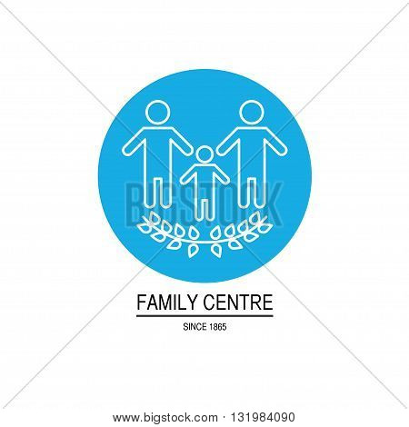 Vector family center logo isolated on white background. Simple design concept. Flat art logo for family center, charity organization, orphanage, children home, assistance to children, clinic.