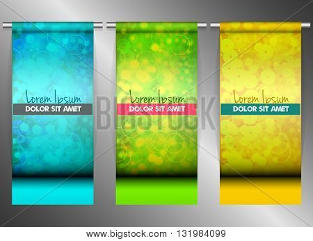 Three bright banners hanging on steel tubes vector illustration eps10