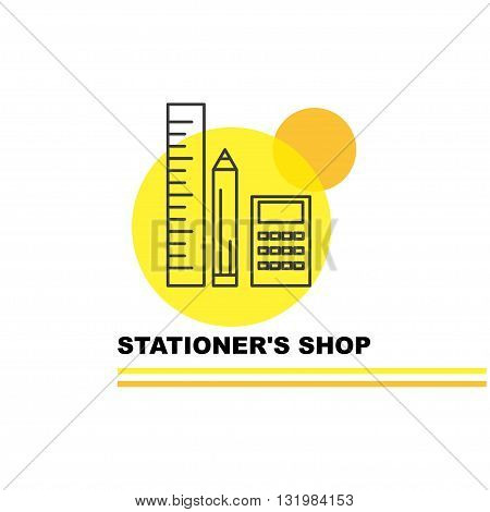 Vector stationer's shop logo isolated on white background. Artistic simple design concept. Flat logo for stationer's shop, card, net work, illustration, education, school tool, banner.