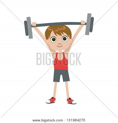 Young Weight Lifter Simple Design Illustration In Cute Fun Cartoon Style Isolated On White Background