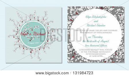 wedding invitation cards decorated with hand drawn barberry