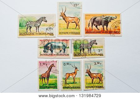 Uzhgorod, Ukraine - Circa May, 2016: A Post Stamp Printed In Burundi Shows Wild Animals, Circa 1970