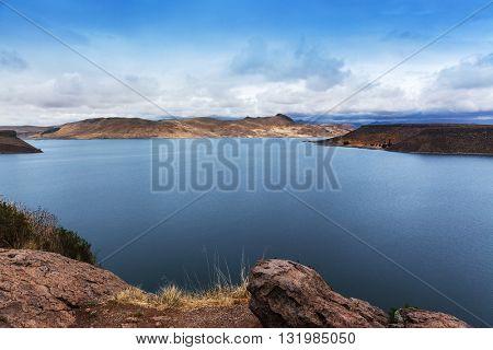 beautiful island in the mountain lake