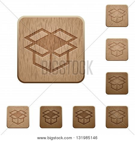 Set of carved wooden open box buttons in 8 variations.