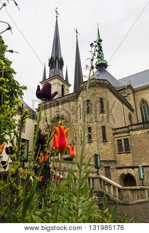LUXEMBOURG, LUXEMBOURG - MAY 15, 2013: This is cathedral of Luxembourg which is the Cathedral is a prime example of late Gothic architecture.