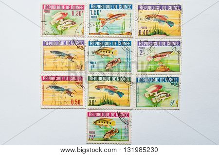 Uzhgorod, Ukraine - Circa May, 2016: Collection Of Postage Stamps Printed In Guinea Republic, Shows