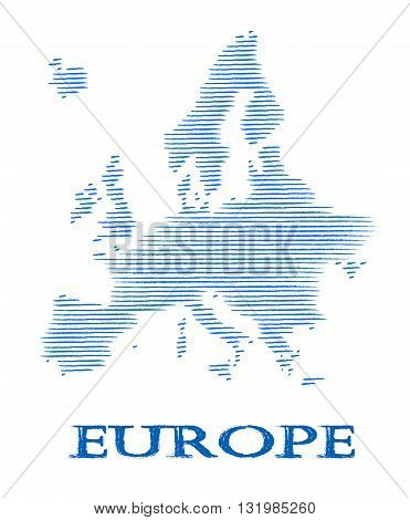 Blue, modern Europe silhouette - vector illustration.