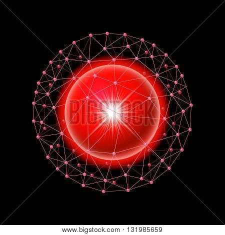Bright red ball inside the internet grid on a black background