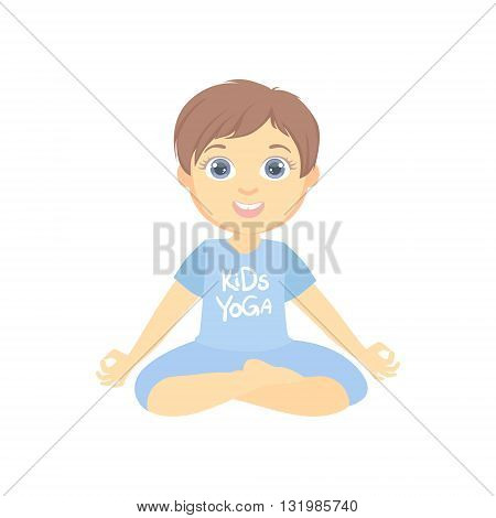 Boy Sitting In Lotus Pose Bright Color Cartoon Childish Style Flat Vector Drawing On White Background