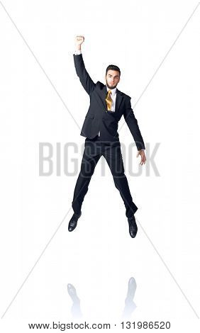 Businessman hanging on an isolated white background