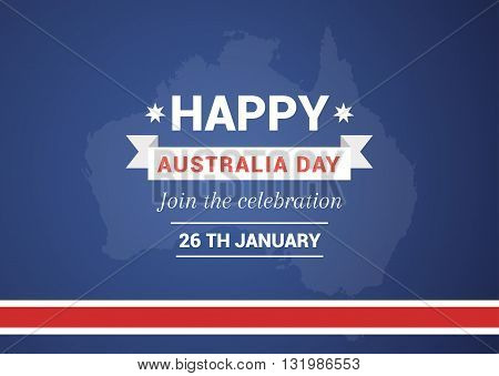 Illustration of a Happy Australia Day on the background of the map. Blue background with a red ribbon illustration for print.