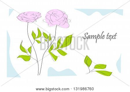 Greeting card with rose - vector illustration.