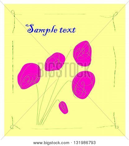 Greeting card with flowers - vector illustration.