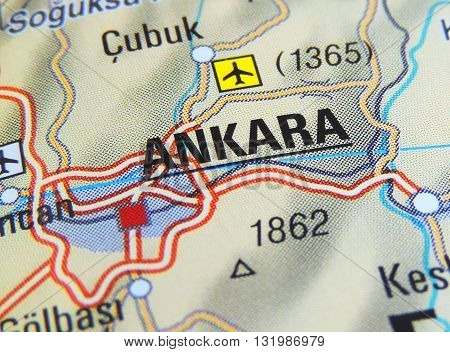 Map of Ankara, Turkey. Middle East, Turkey with focus on Ankara.